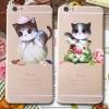 ยางใส - ลายแมว - เคส iPhone5 / 5S / SE