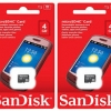 ไมโครเอสดีการ์ด ยี่ห้อ Sandisk ความจุ 4 GB
