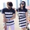 เสื้อผ้าแฟชั่นเกาหลีชุดคู่รักชายเสื้อยืดแขนสั้น เดรสสั้นผ้าผูกเอว