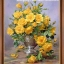 แจกันดอกกุหลาบสีเหลือง ภาพติดเพชรDiamond painting thumbnail 1