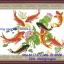 ปลาคราฟ9ตัวมงคล ครอสติสจีนพิมพ์ลาย thumbnail 1