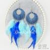 ต่างหูระย้า summer collection ขนนกสีฟ้าสลับน้ำเงิน