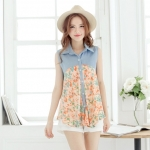 [Preorder] เสื้อแฟชั่นแขนกุดลายดอกไม้ แบรนด์ Mayuki สีชมพู Sleeveless shirt printing stitching full version