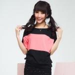 [Preorder] เสื้อแฟชั่นแขนสั้น สีชมพูดำ 2013 spring new Korean bat sleeve large size women loose short-sleeved cotton T-shirt