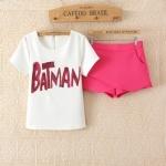 [Preorder] เซ็ทเสื้อแขนสั้นสีขาวประดับ sequins ภาษาอังกฤษ + กางเกงขาสั้นสีบานเย็น (ไซส์ M L XL) Korean Slim thin short-sleeved T-shirt sequined letters cross piece shorts culottes 2014 summer new women